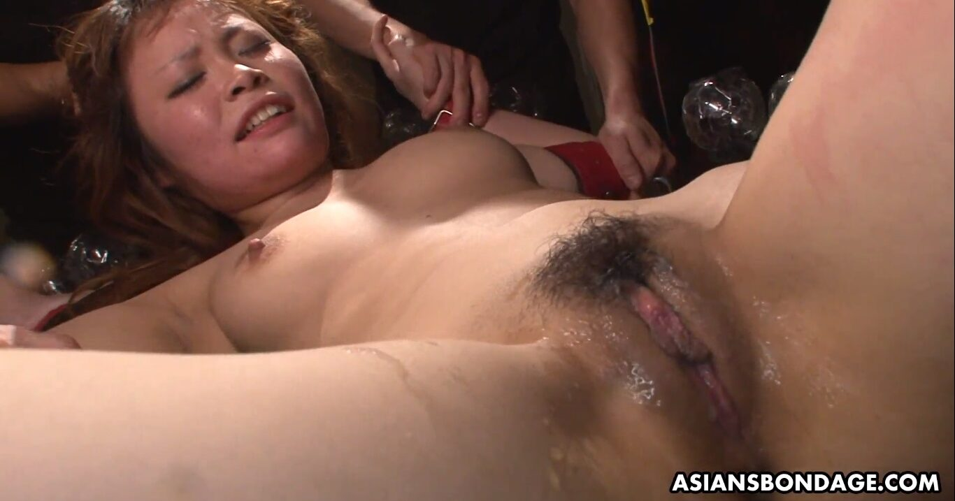 The Japanese girl is delirious with such pleasure, as her cunt is soaked with female orgasms