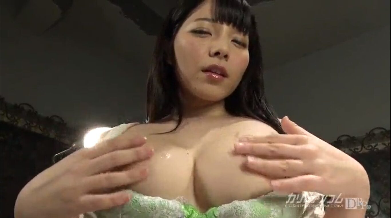 beautiful japanese girl rubbing her big tits and pulling her hard nipples
